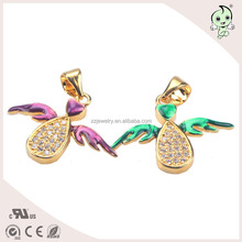 Beautiful Gold Plating CZ Paving And Enamel Angel's Wings Design 925 Sterling Silver Pendant