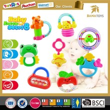 High quality ICTI baby toy hanging bell apple/frog/mickey/bear baby rattle