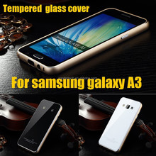 For samsung a3 case Luxury Hybrid tempered glass metal aluminum cover cases for samsung galaxy A3