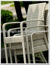 Outdoor rattan or wicker stacking chair