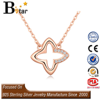 2015 New Products Two Colored Fashion Happy Micro Pave silver four leaf clover necklace