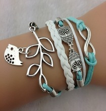 Infinity, Owls & Lucky Branch/Leaf and Lovely Bird Charm Bracelet in Silver - Mint Green Wax Cords and Leather Braid - 921