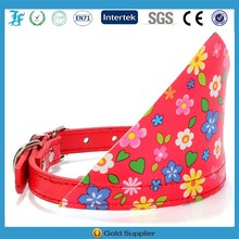 Flower pattern dog collar with bandana different sizes and multi colors