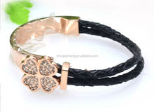 Wholesale stainless steel watch braided leather bracelets for women