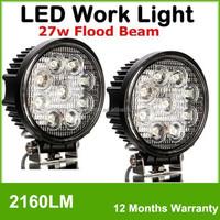 27W CREEs 12V 24V LED Work Light Flood Lamp Tractor Truck SUV UTV ATV Offroad