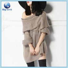 fashion women's Wool/Acrylic sweater dress long sleeves bw-35