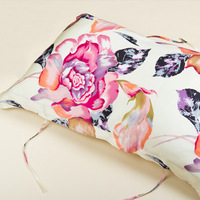 Rectangle lace up digital printing flowers 100% silk satin pillow case