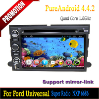 2 din android 4.4 quad core for ford mustang car dvd with capacitive screen bluetooth 3g wifi mirror-link hotspot mp3 gps radio