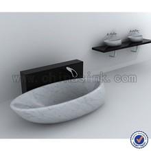 Carrara white marble vessel stone bathroom vessel sink