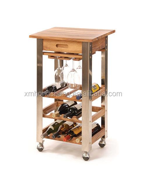 Diy gebouwd in staande houten keuken trolley wijnrek weer te geven ...