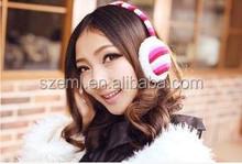 Manufacturers selling new winter Korean color stripe ladies earcap warming ear muffs wholesale
