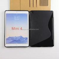Fashion S shape clear tpu cover case soft case for ipad mini 4 fast shipping