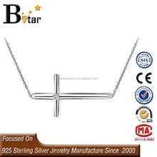 Popular 925 Silver Rhodium Plated East-West Sideways Cross Necklace