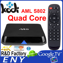 M8, 2G ROM, 4K, most popular amlogic OTT box amlogic s802 wifi tv smart box