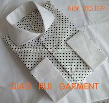 el último diseño nuevo de los hombres de alta calidad de color blanco cuello image polka dot francés camisa formal