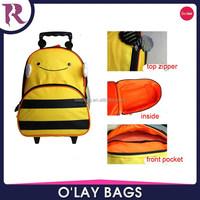 2015 best price quality kids trolley school bag with wheels