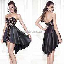 New Arrival Strapless Sweetheart Taffeta Black Lace Cocktail Dress 2015