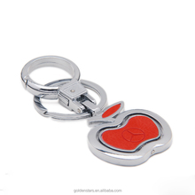 custom logo car brand apple shape leather floating key ring