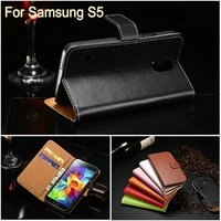 Fashion design genuine leather smart cover case for Samsung Galaxy S5 like a compact shell hot selling