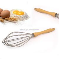 2015 FAD LFGB wood handle popular Spiral silicone egg Whisk