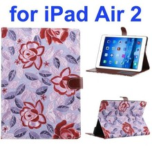 New Arrival Flower Pattern Flip PU Leather Smart Case for iPad Air 2 with Stand and Card Slots