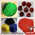 Couleur différente de poudre de pigment oxyde de fer rouge/jaune,/noir./brunetaille/bleu,/orange,/vert d'oxyde de fer pour le béton ti formule chimique