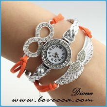 10 Colors New Handmade Braided Watch ,Bracelet Watch with wing,Braided colorful rhinestone watch