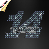 Bling crystal number iron on rhinestones designs for clothing