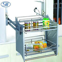 Guangzhou Wall Mounted kitchen wire storage rack Modern adjustable Elevator Baskets kitchen cabiner pull out basket