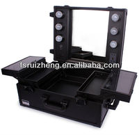 Durable black aluminum makeup case with light with mirrorRZ-C016