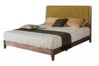 Comfortable double bed,wooden bed with walnut color for bedroom and hotel