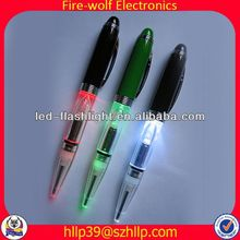 2014 China Supplier New Style Colourful Led Flashing 4 colors ball pen with one pencil