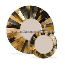 de alta calidad mejor venta decorativa cuerno ronda espejo de la pared