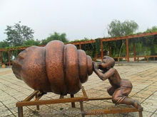 Hot sale large bronze conch and child statue for garden decoration