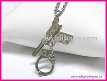 Crystal gun and handcuff peandant necklace