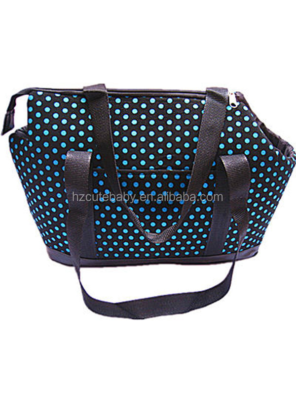 blue dot sponge flocking pet carrier dog bag