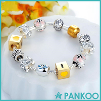 Hot sale DIY 925 pure silver I LOVE YOU beads bracelet