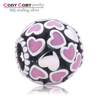 100% Antique 925 Sterling Silver Bead Pink Enamel Love Heart Charm for Women DIY Jewelry For Snake Chain Charms Bracelet
