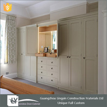 2015 solid WOODEN wardrobe with dressing table designs bedroom furniture set