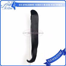 Clip on long straight wrap around synthetic hair ponytail, wrap ponytail, yaki drawstring ponytail