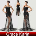 nova chegada de gk longo estilo ata formal vestidos de noite sexy preto de um ombro vestido de baile noite CL6100