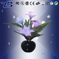 Wholesale Multicolor Changing Light emitting Fiber Optic Flower in pot