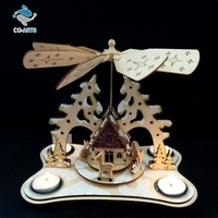 Wholesale holiday decoration battery charge crafts lighting made of wood