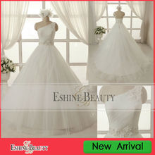WNA13006 Hot sale A-line tulle one shoulder puffy wedding gown sample pictures