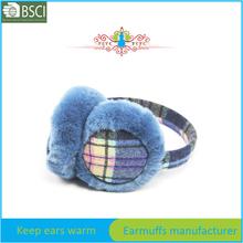 blue fleece christmas embroidery earmuff