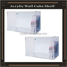 acrylic clear wall cube shelf