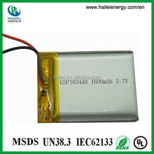 Wholesale high quality 3.7v li-polymer 103448 1600mah battery