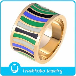 TKB-R0292 Europe and America trendy jewelry rotary whirlpools design gold plated stainless steel enamel rings for wholesale