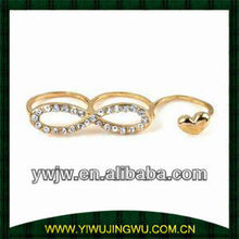 Personality Crystal Rhinestone Bowknot Heart 3 Fingers ring