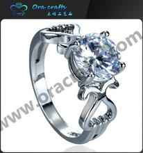 2015 Fashion Jewelry 925 silver diamond ring, white stone single stone finger ring
